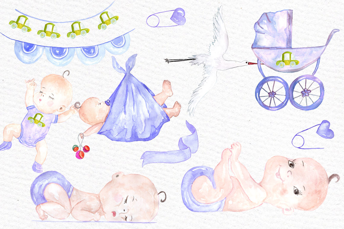Watercolor boy baby shower clipart example image 2