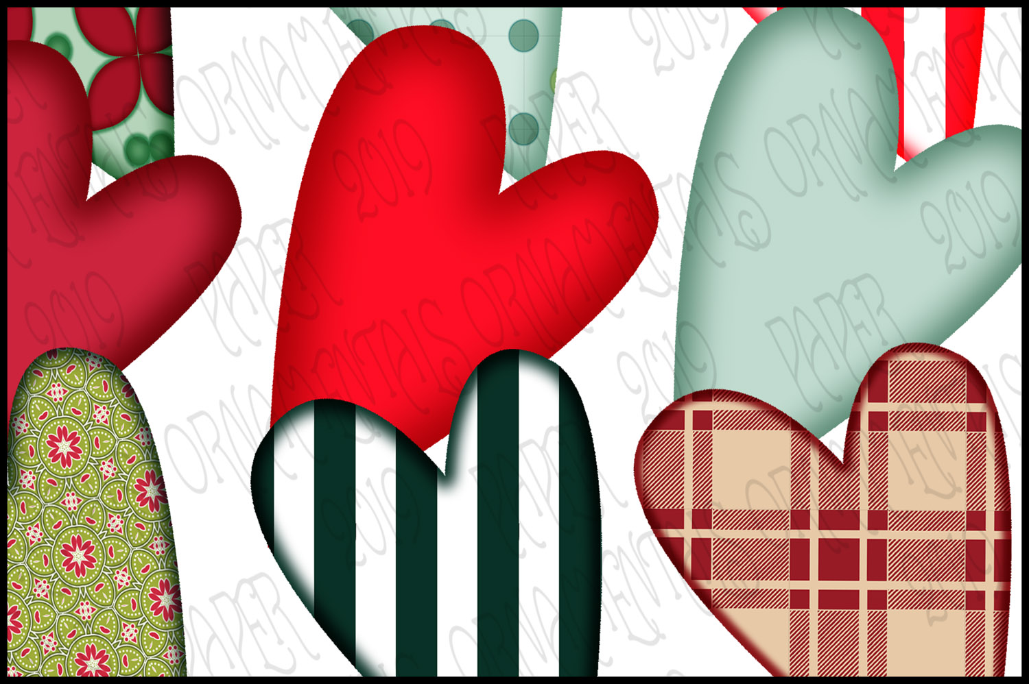 Christmas Clip Art, Holiday Primitive Hearts example image 4