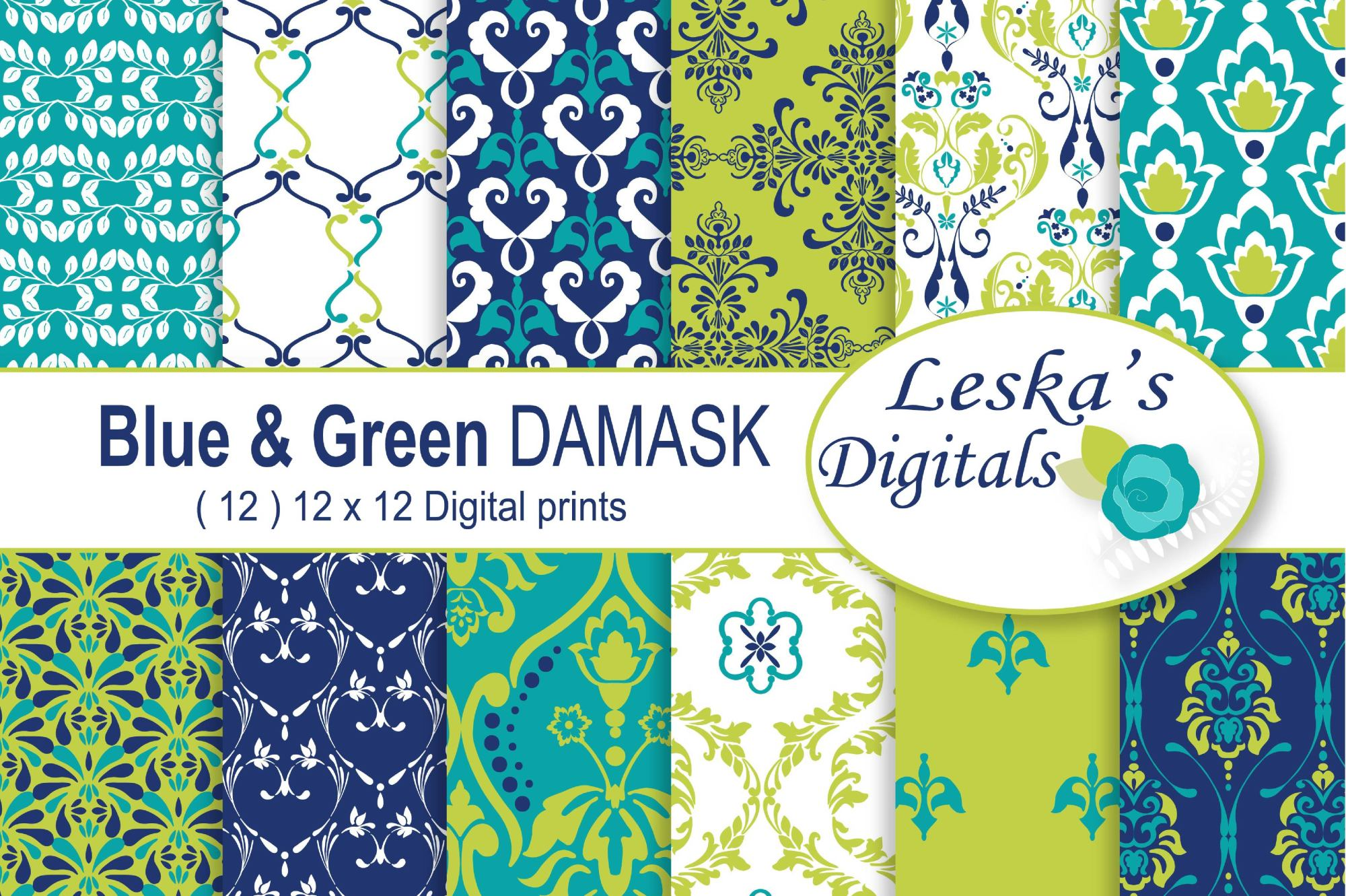 Lime Green and Navy Blue Digital Paper example image 1