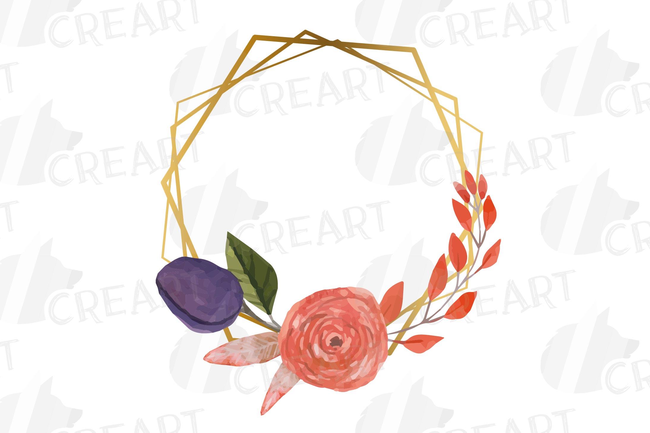 Watercolor elegant autumn geometric golden frame templates. example image 23