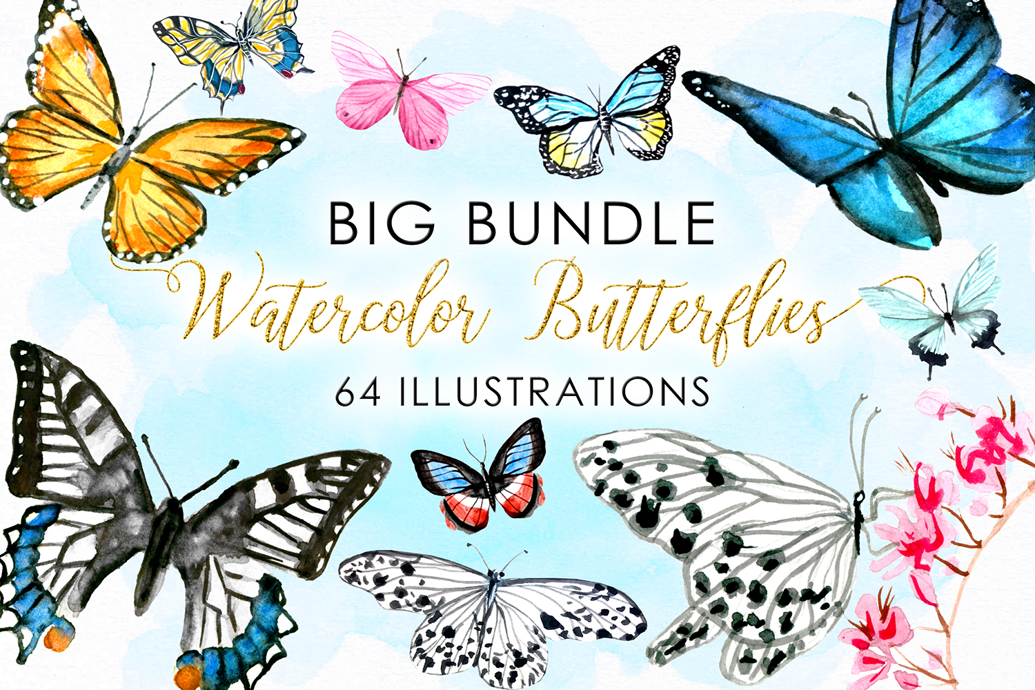 BIG Bundle Watercolor Butterflies example image 1