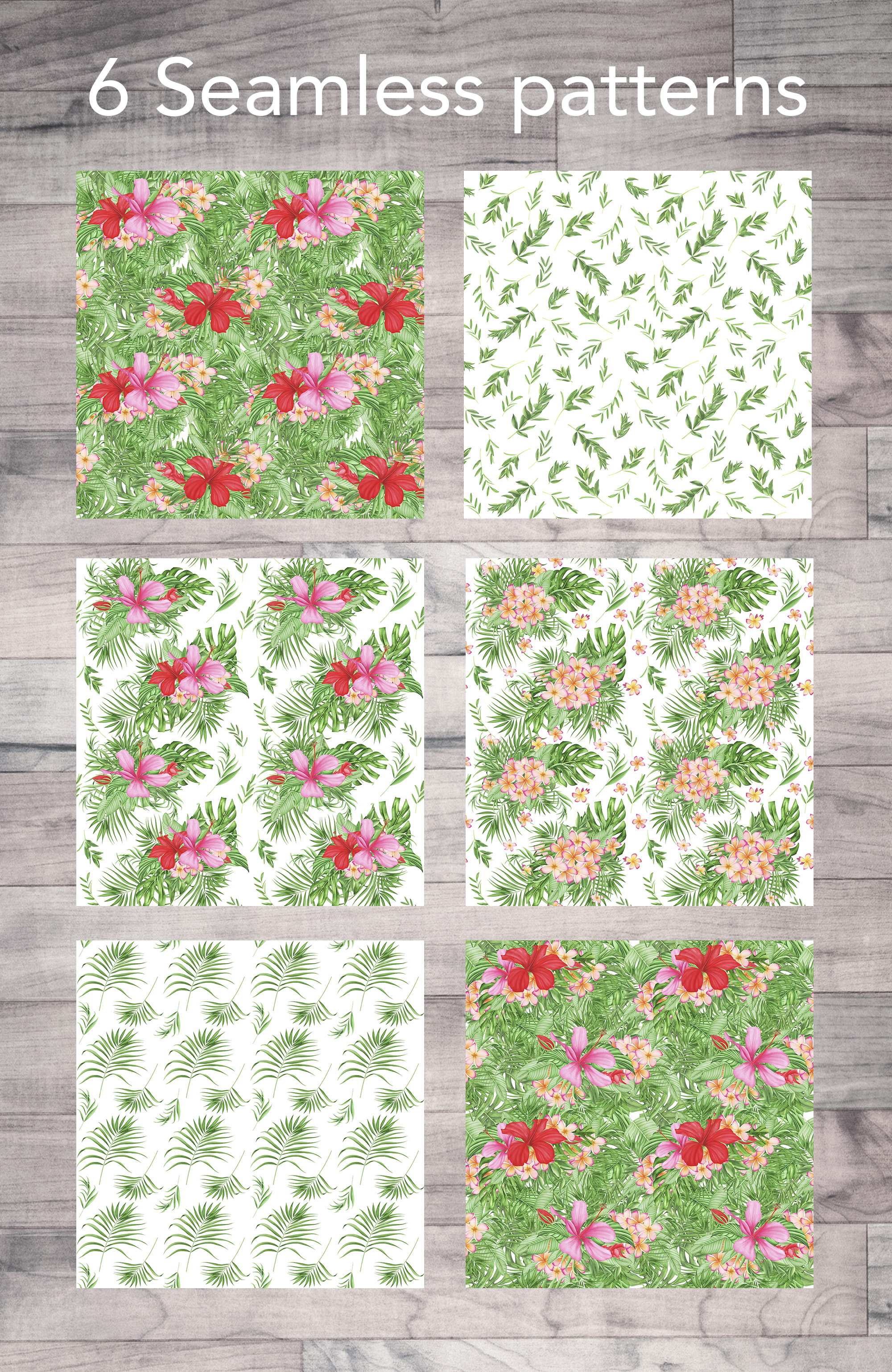 Tropical leaves and flowers patterns example image 3