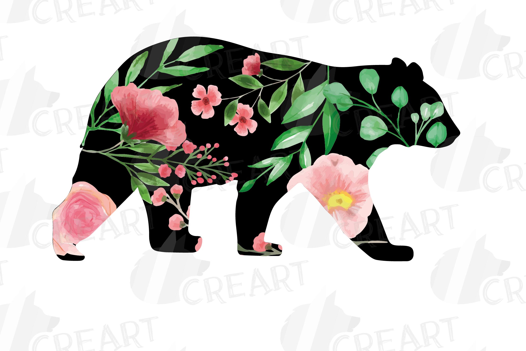 Floral bear family, sister, brother, baby, papa and mama example image 13