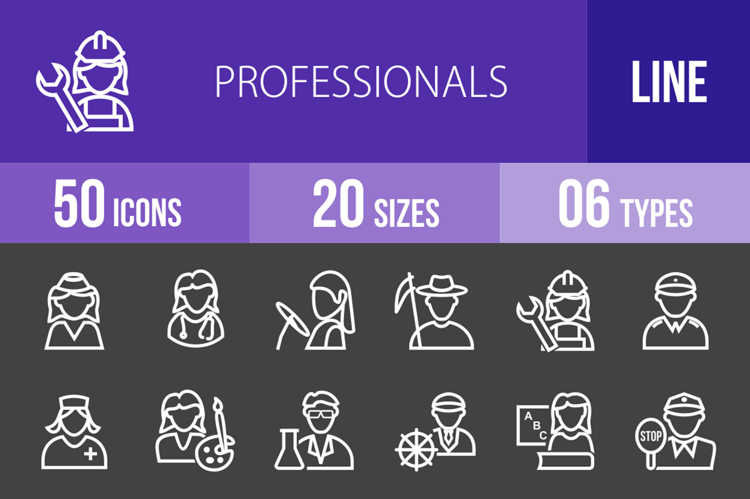 50 Professionals Line Inverted Icons example image 1