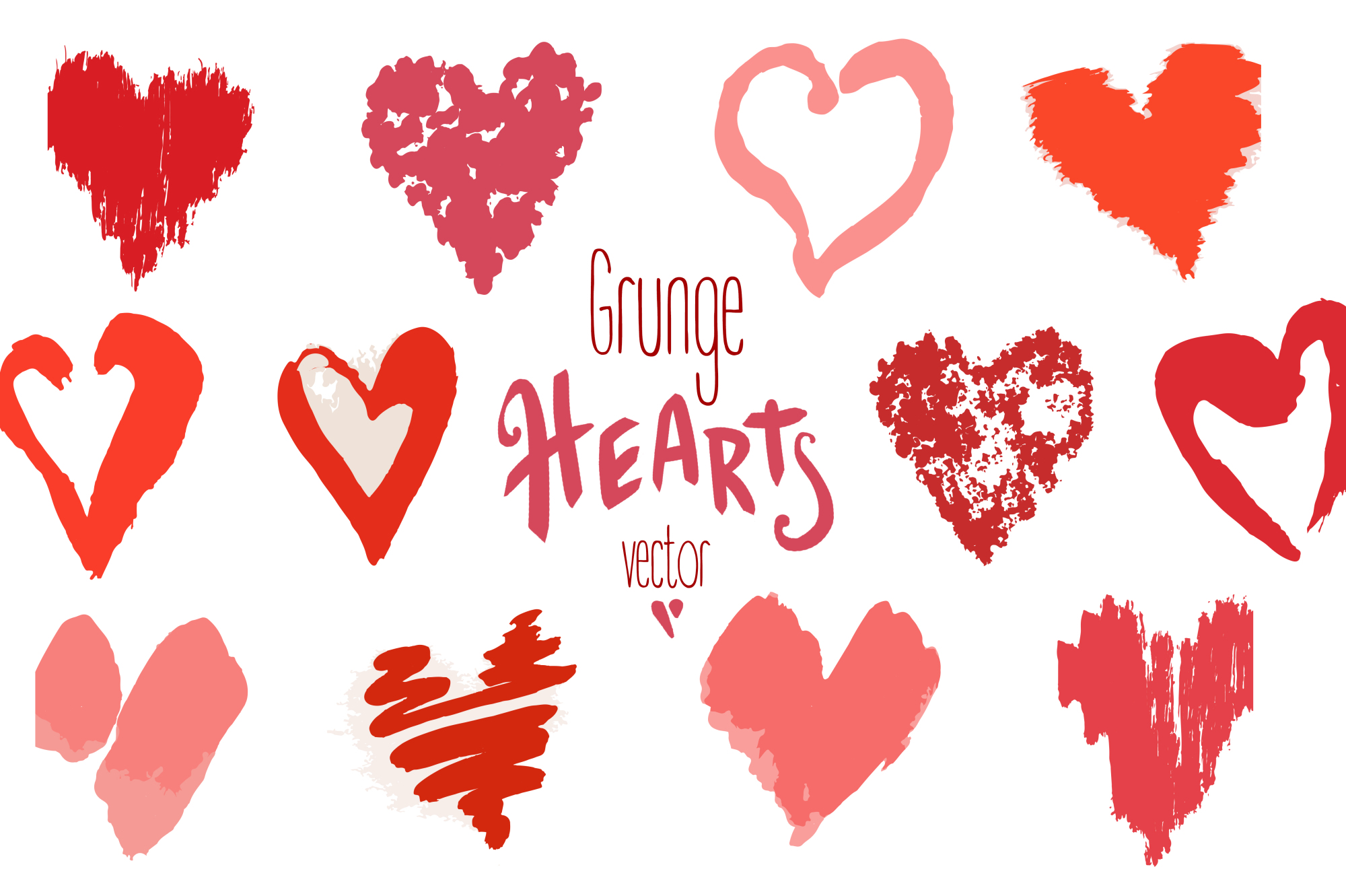 Vector grunge hearts+pattern example image 1
