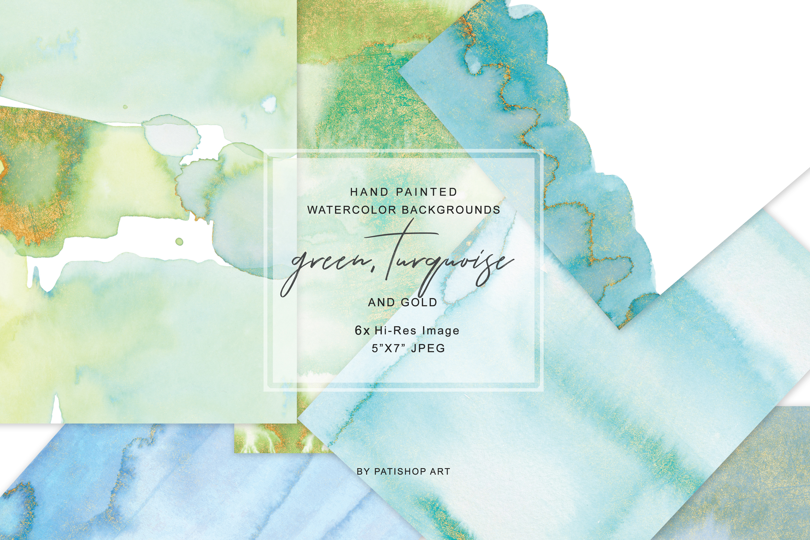 Watercolor Glittered Green & Turquoise Background 5x7 example image 1
