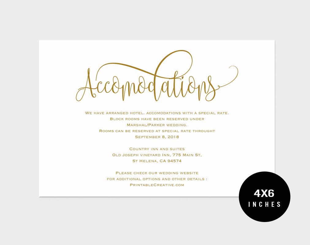 Wedding Information Card example image 2