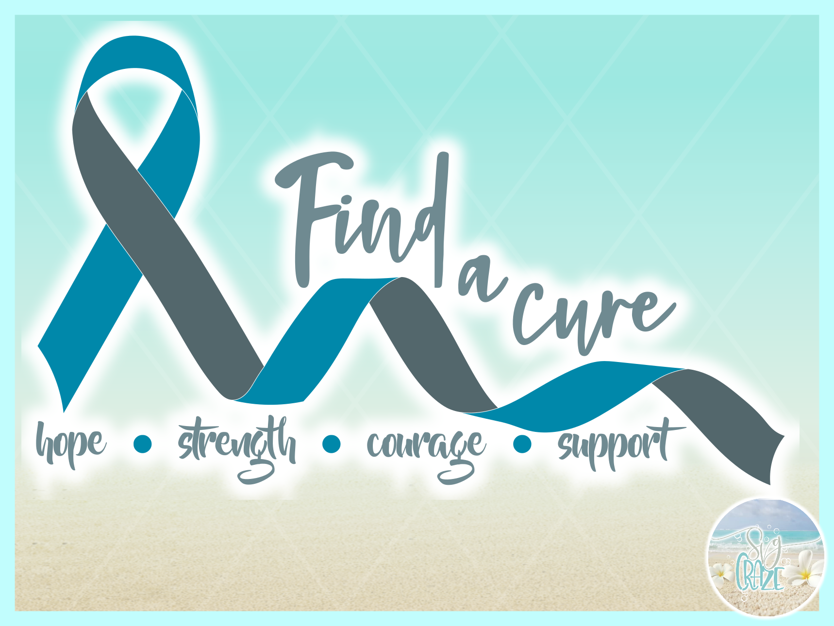 Find A Cure Two Colors Ribbon Svg Dxf Eps Png Pdf Files example image 3