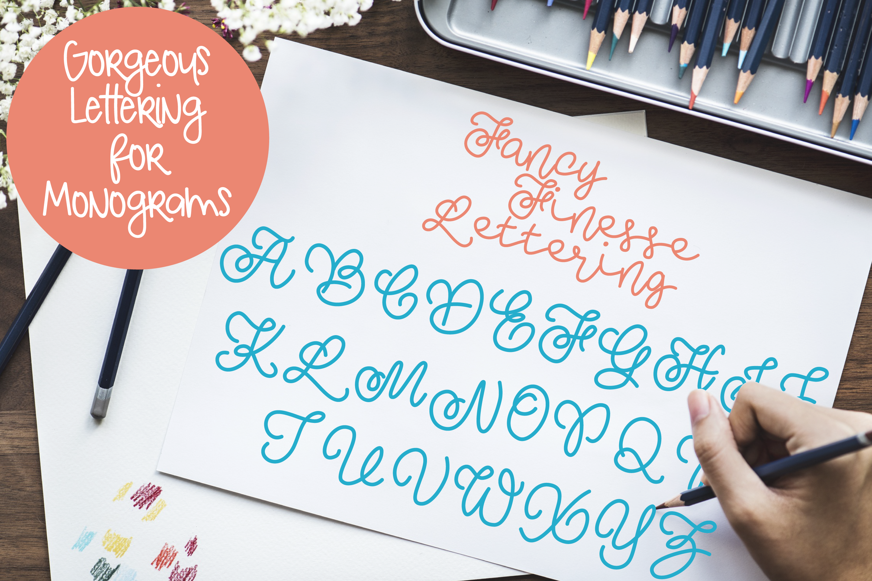 Fancy Finesse Lettering - Perfect for Monograms! example image 1
