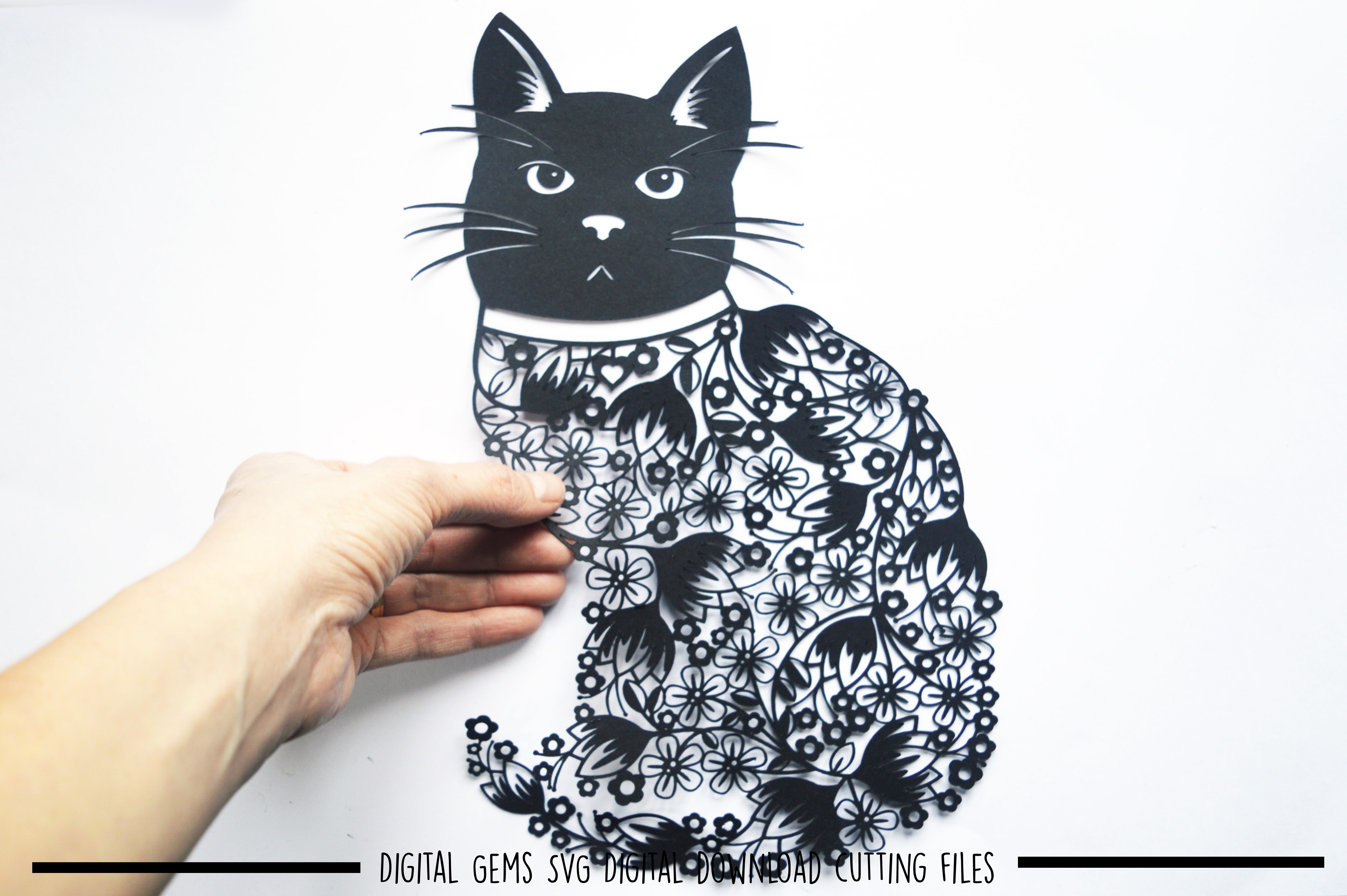 Cat paper cut SVG / DXF / EPS files example image 1