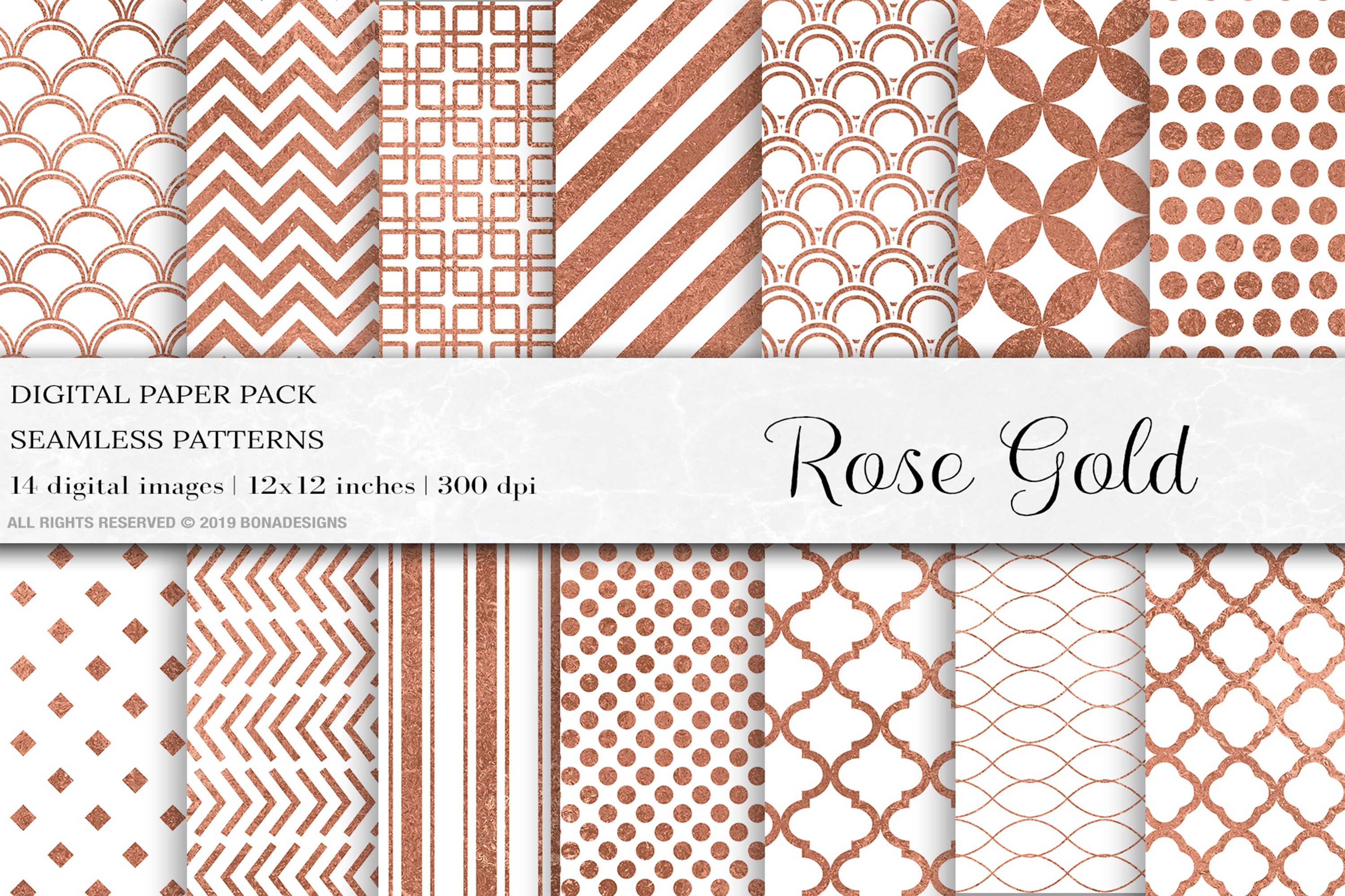 Rose Gold Seamless Pattern, Rose Gold Wedding Patterns, Gold example image 1