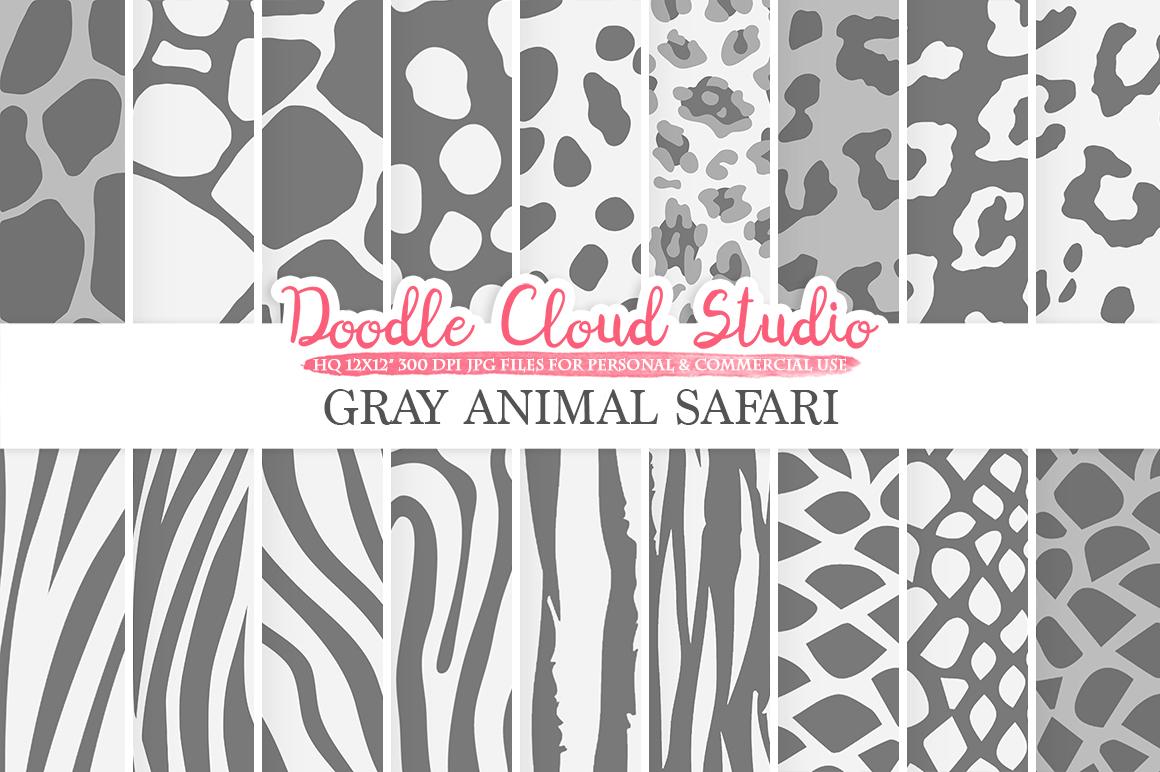 Gray Animal Safari digital paper, Fur Grey pattern, Giraffe Zebra Leopard Snake Tiger backgrounds Instant Download Personal & Commercial Use example image 1