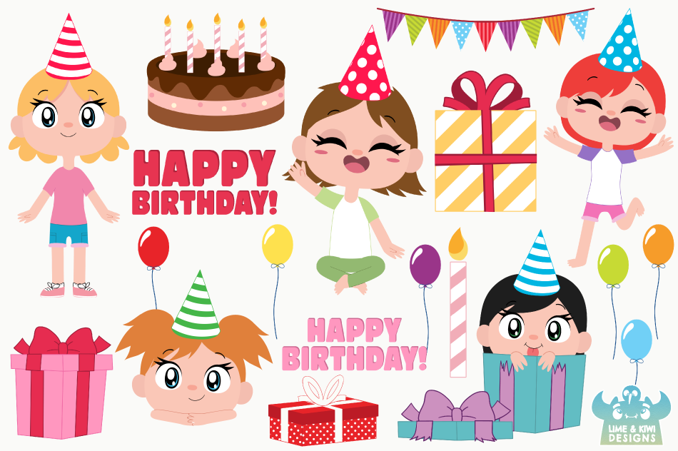 Birthday Party Girls 1 Clipart, Instant Download Vector Art example image 2