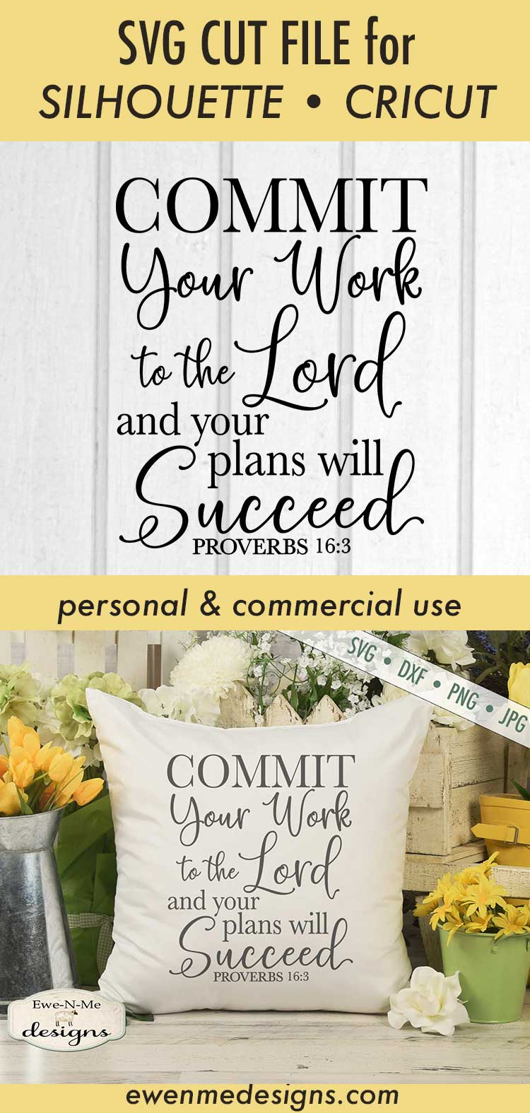 Commit Your Work To The Lord - Bible Verse Proverbs 16 - SVG example image 4
