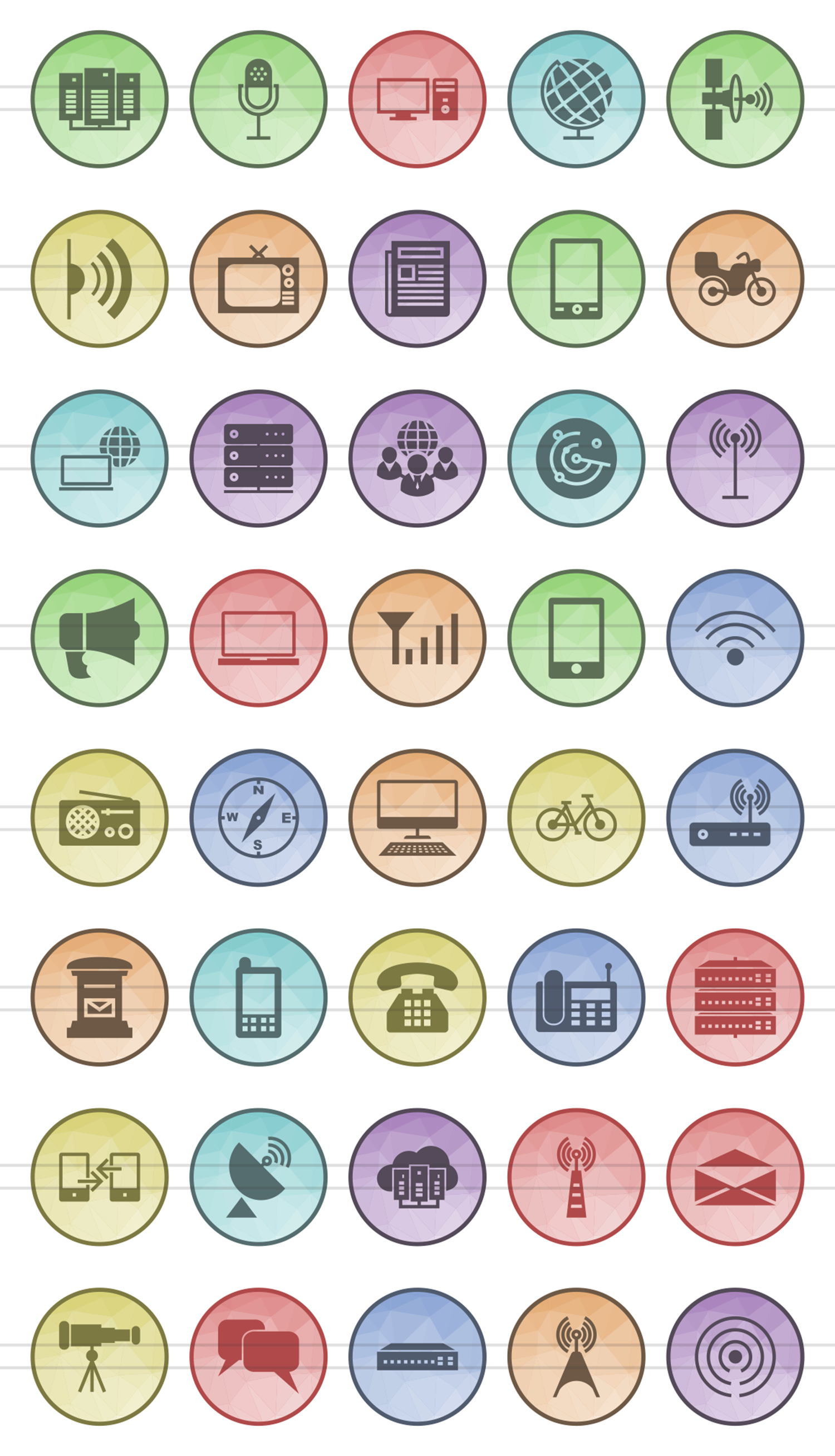 40 Communication Filled Low Poly Icons example image 2