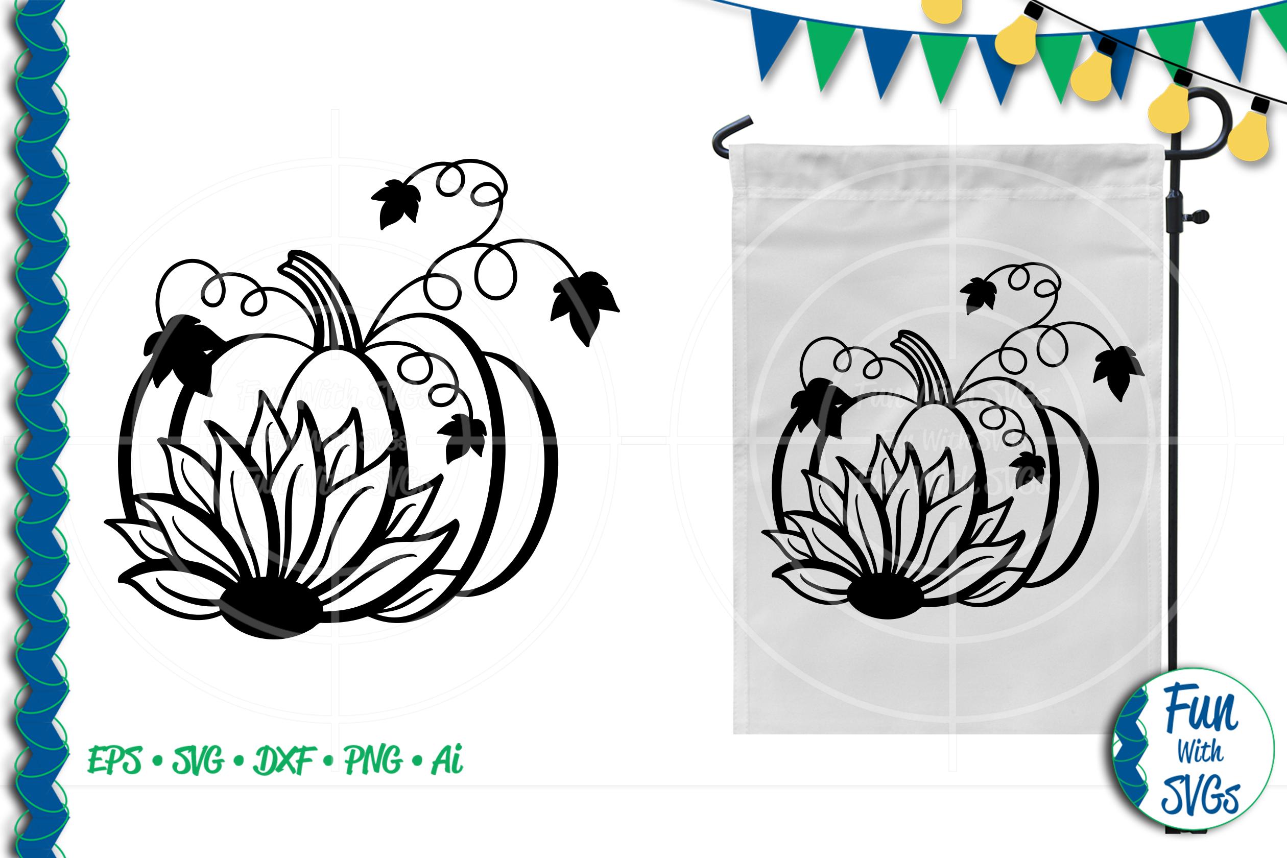 SVG Sunflower Pumpkin Vector, Cut File, Clip Art FWS277 example image 1