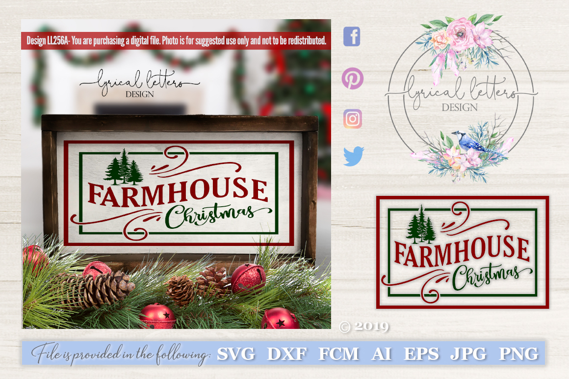 Farmhouse Christmas SVG DXF LL256A example image 1