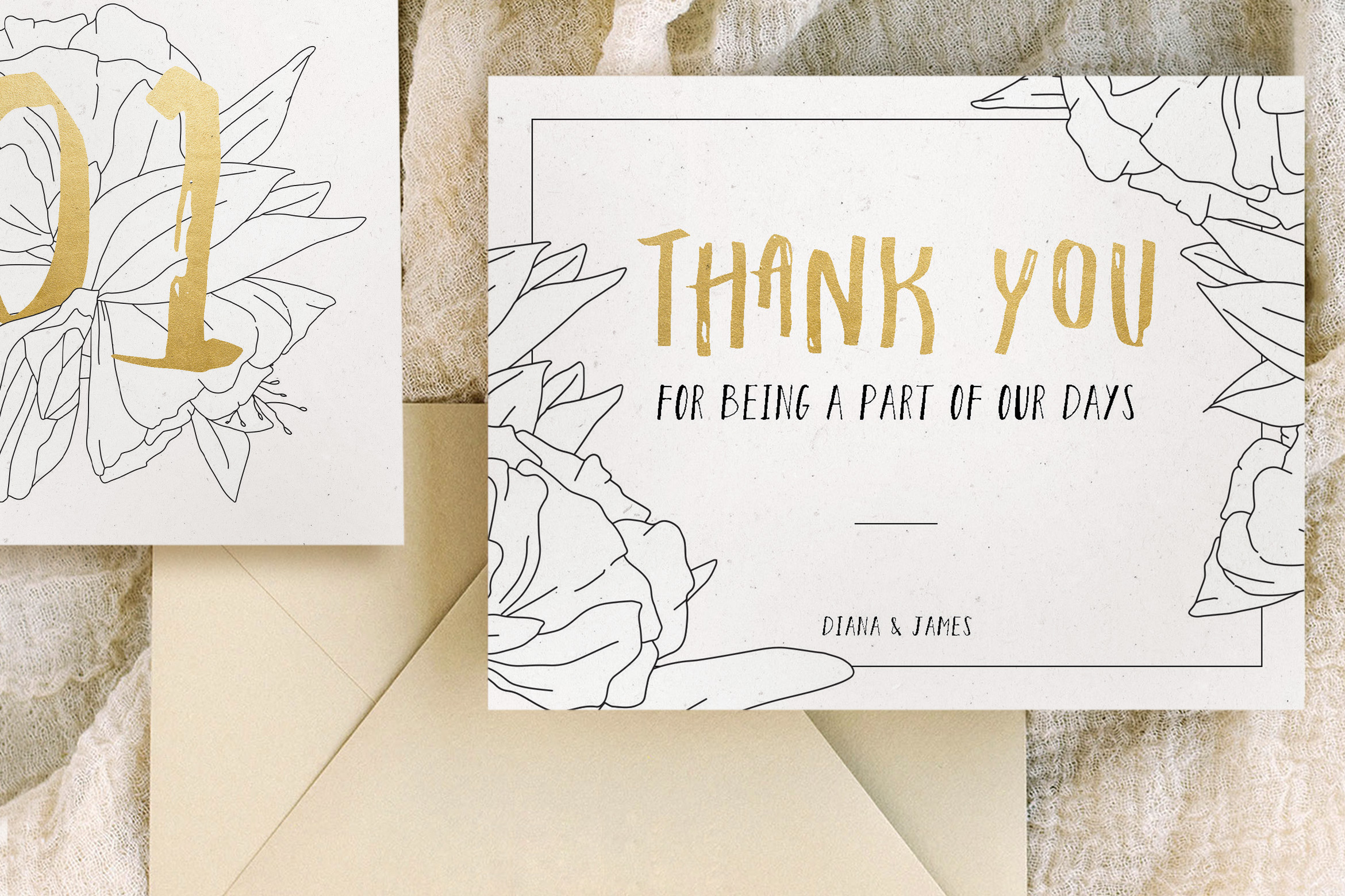 Simple Floral Outline Wedding Suite example image 3