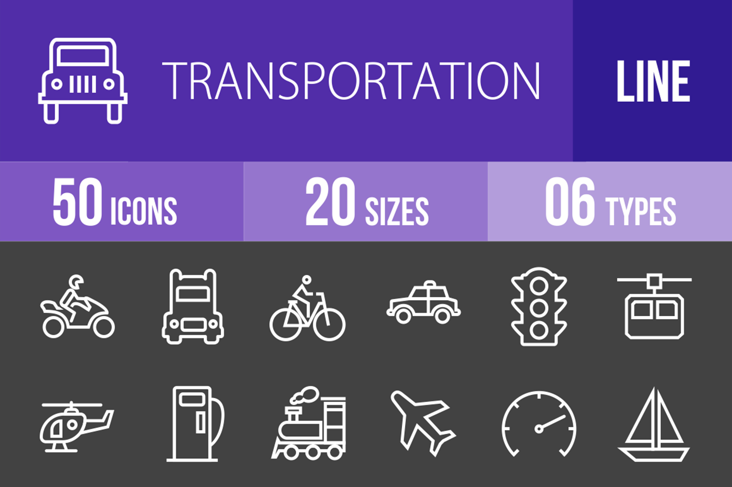 50 Transportation Line Inverted Icons example image 1