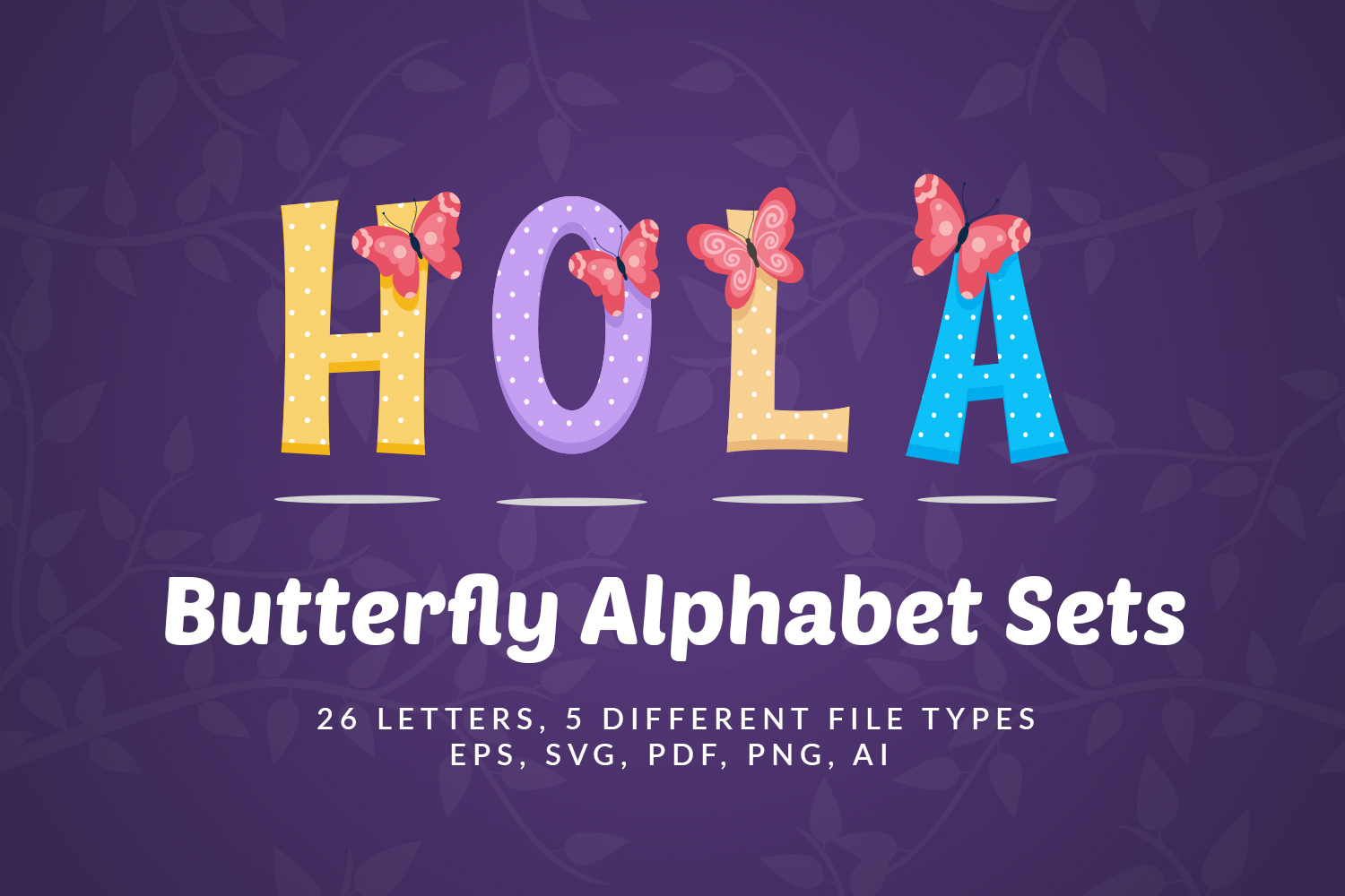 Butterfly Alphabet Sets example image 1