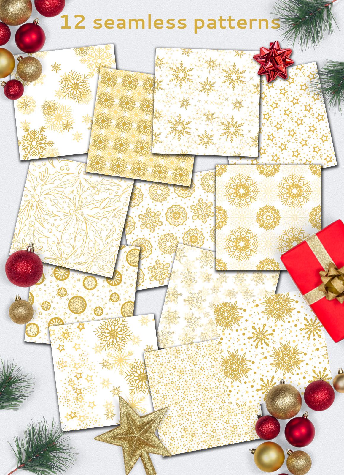 Golden Christmas Seamless Pattern example image 2