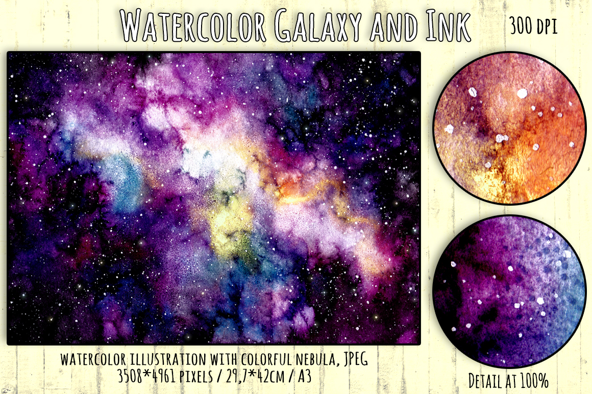 watercolor galaxy and ink collection by design bundles
