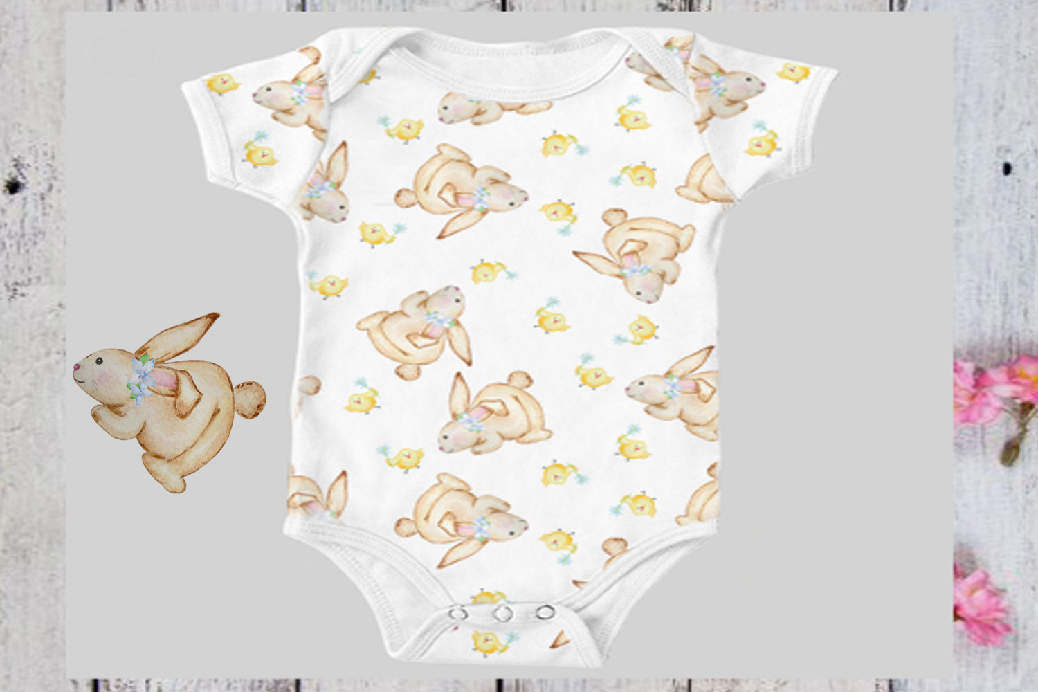 Watercolor Cute Bunny Seamless Paper Pattern example image 7