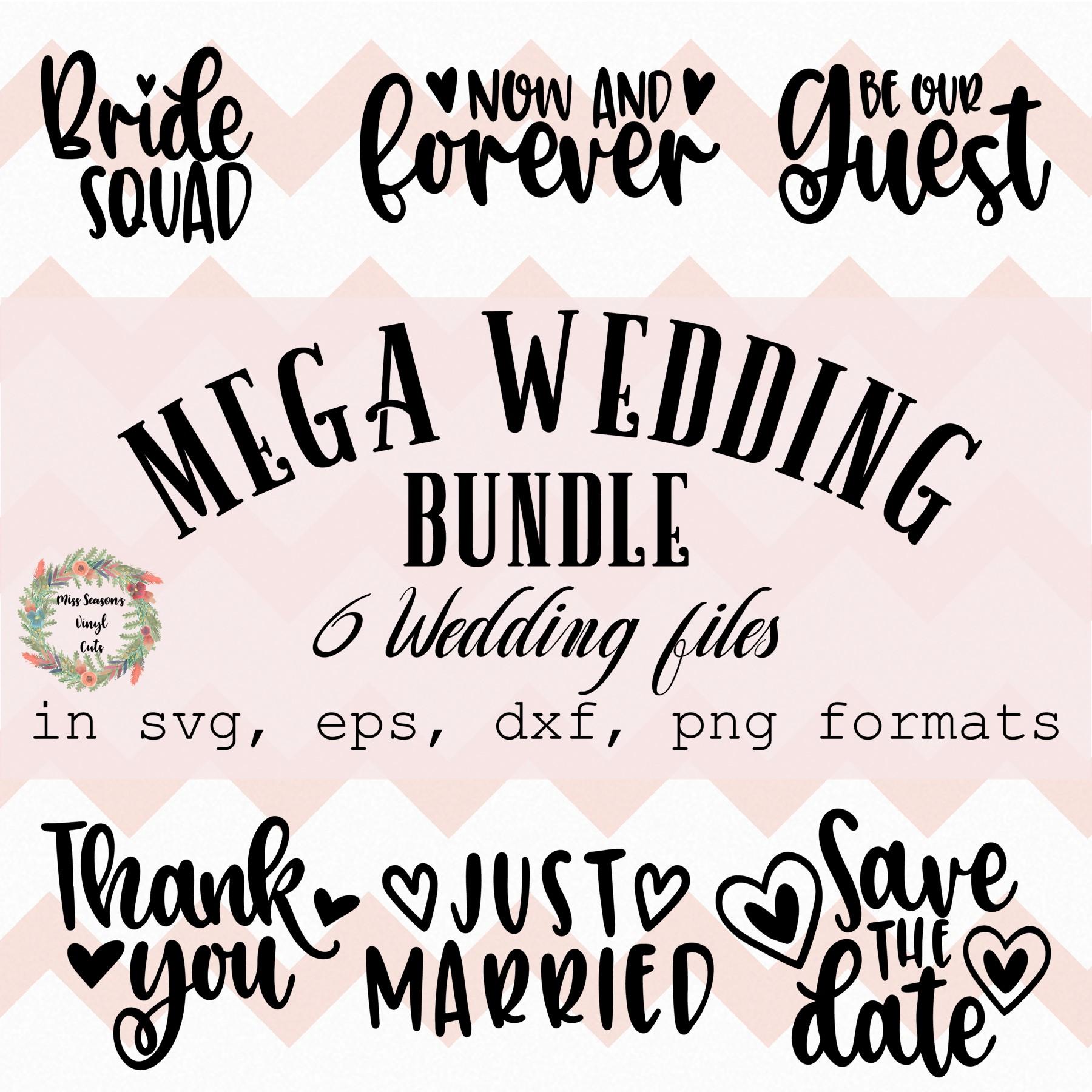 Wedding Bundle SVG Engagement SVG, DXF, Eps, Png Wedding example image 2