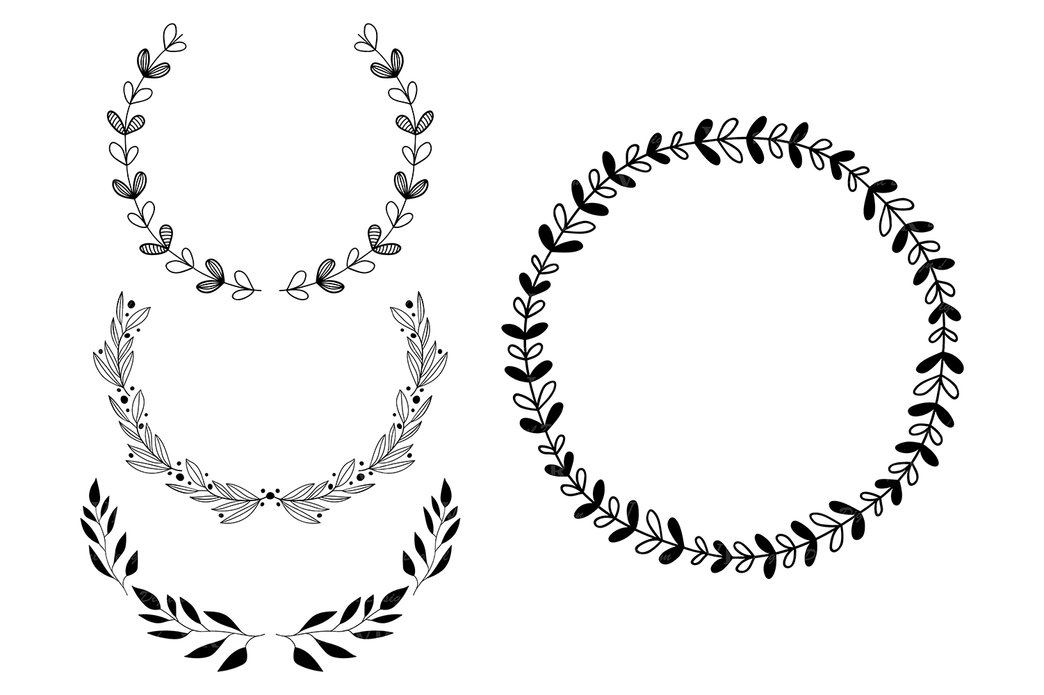 Wreaths Clipart, Hand drawn black design elements, Digital wreath, laurels, leaves and branches, Wedding clipart, Vector example image 4