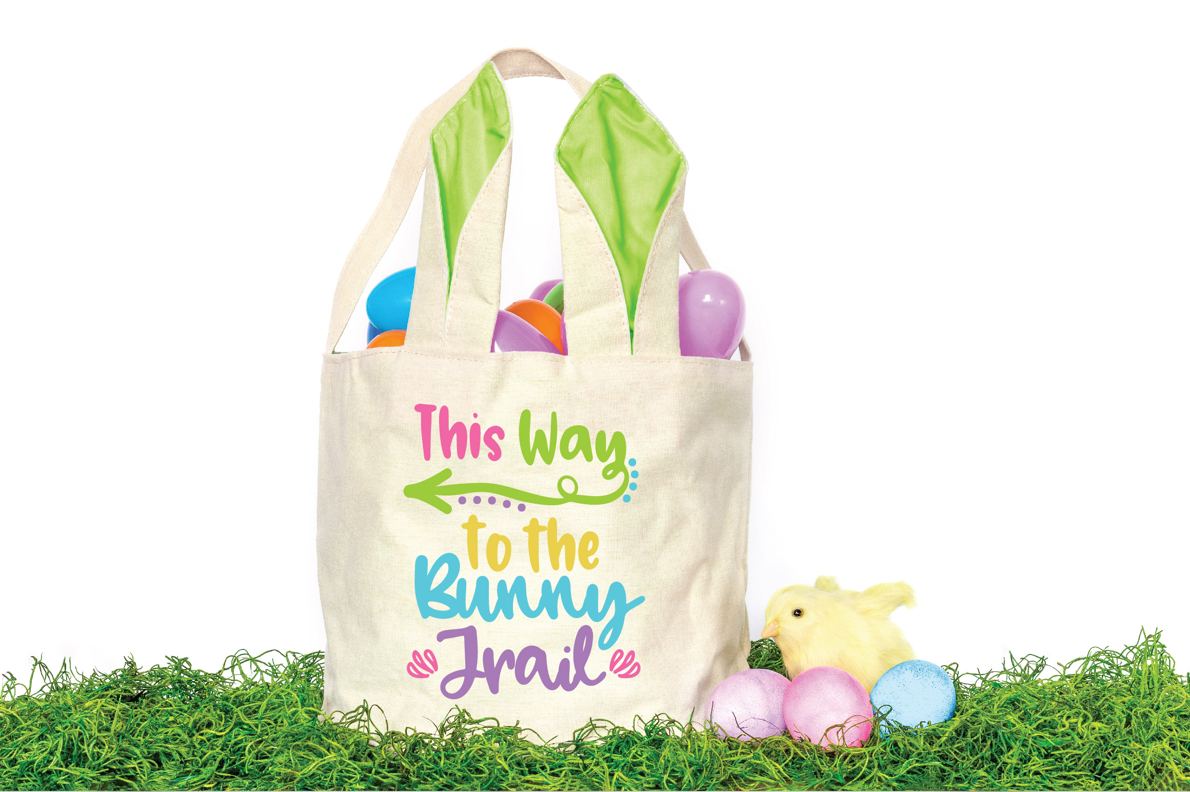 Easter SVG Cut File - This Way to the Bunny Trail SVG DXF example image 2