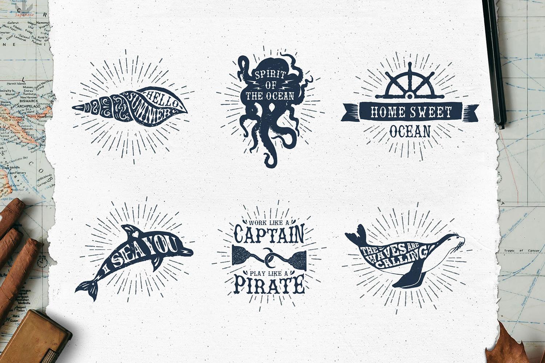 Old Sailor. Vintage Badges. Vol.1 example image 5