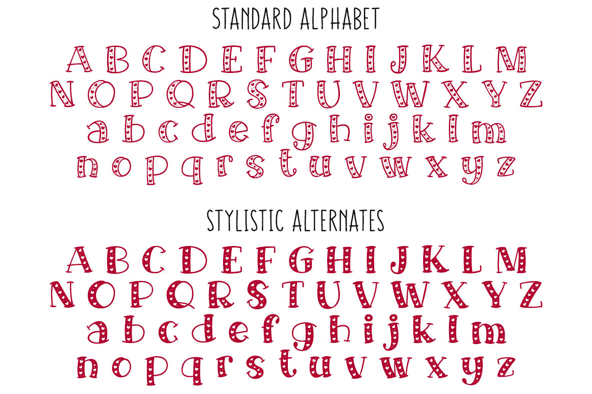 Big Sweetie - standard and stylistic alternate alphabets