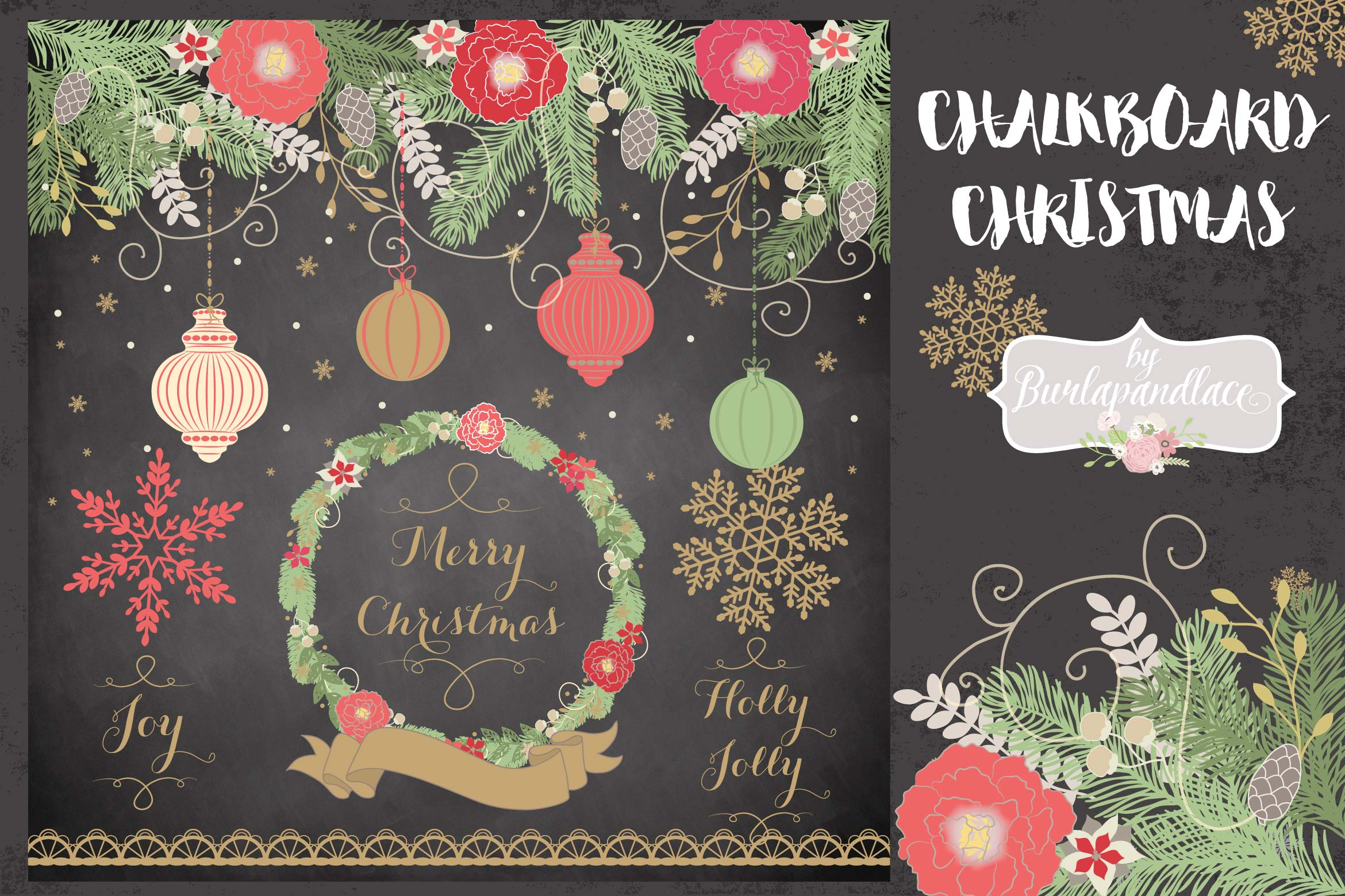 Vintage color christmas design example image 1