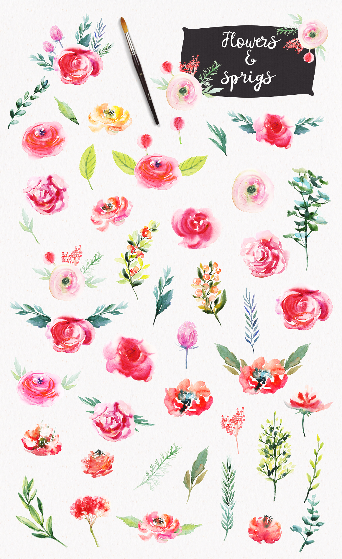 Watercolor Bright Flowers example image 2