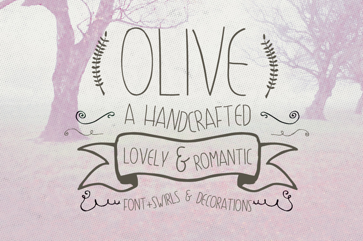 Olive Hand Drawn Font + Decorations example image 1
