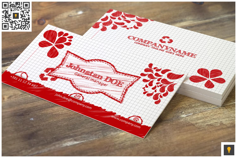 Sketch Modern Business Card Red