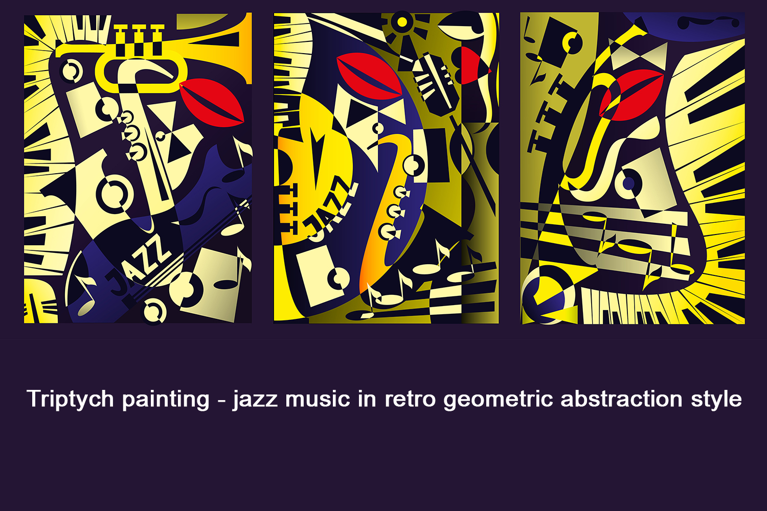 Triptych painting - jazz music in retro geometric abstraction style. Vector illustration example image 3