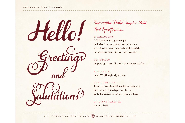 Samantha Script Italic Bold example image 4
