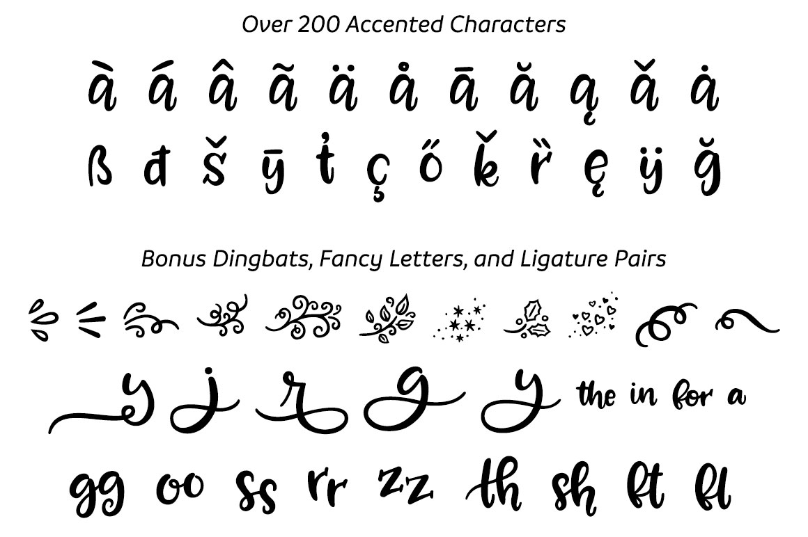 Zooky Squash - accented characters and bonus glyphs
