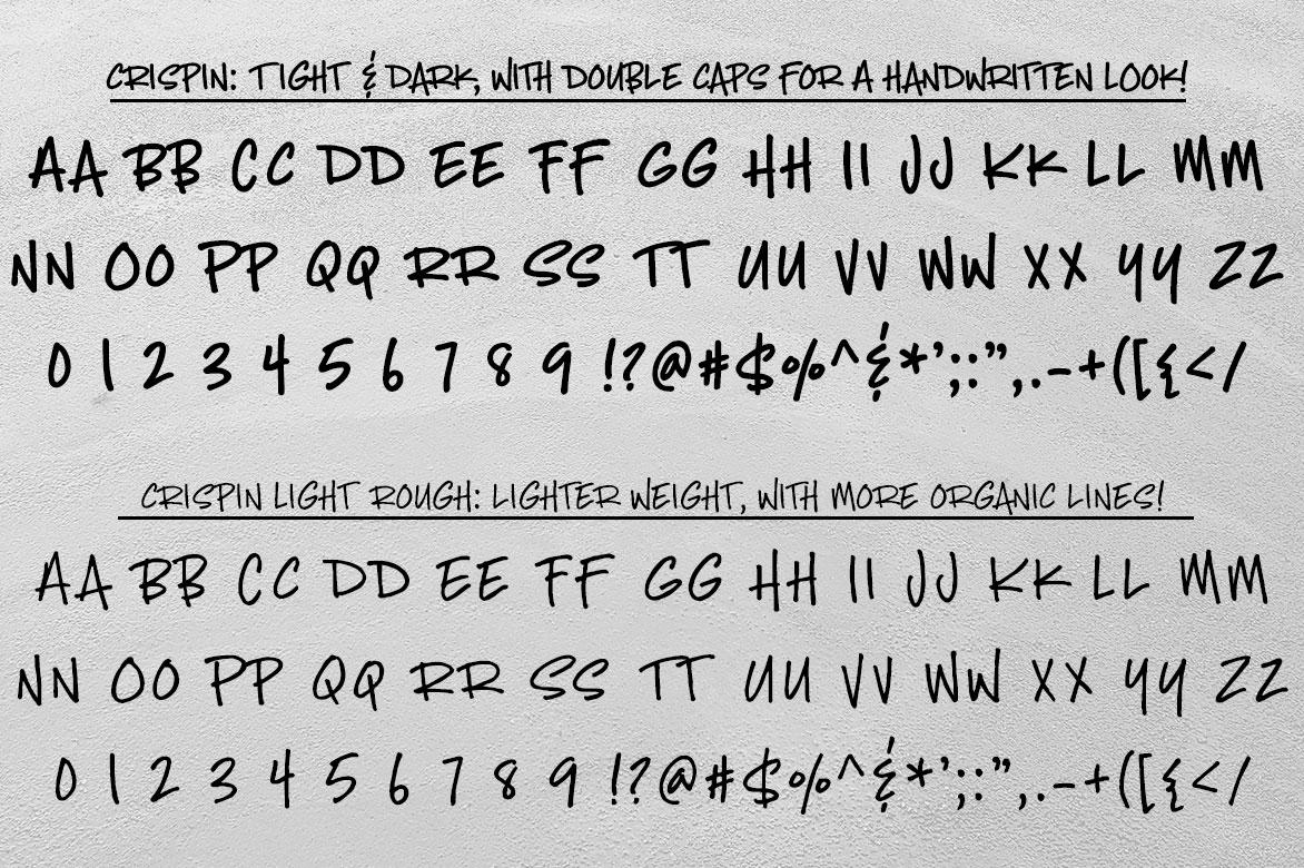 Crispin: regular and light rough alphabets
