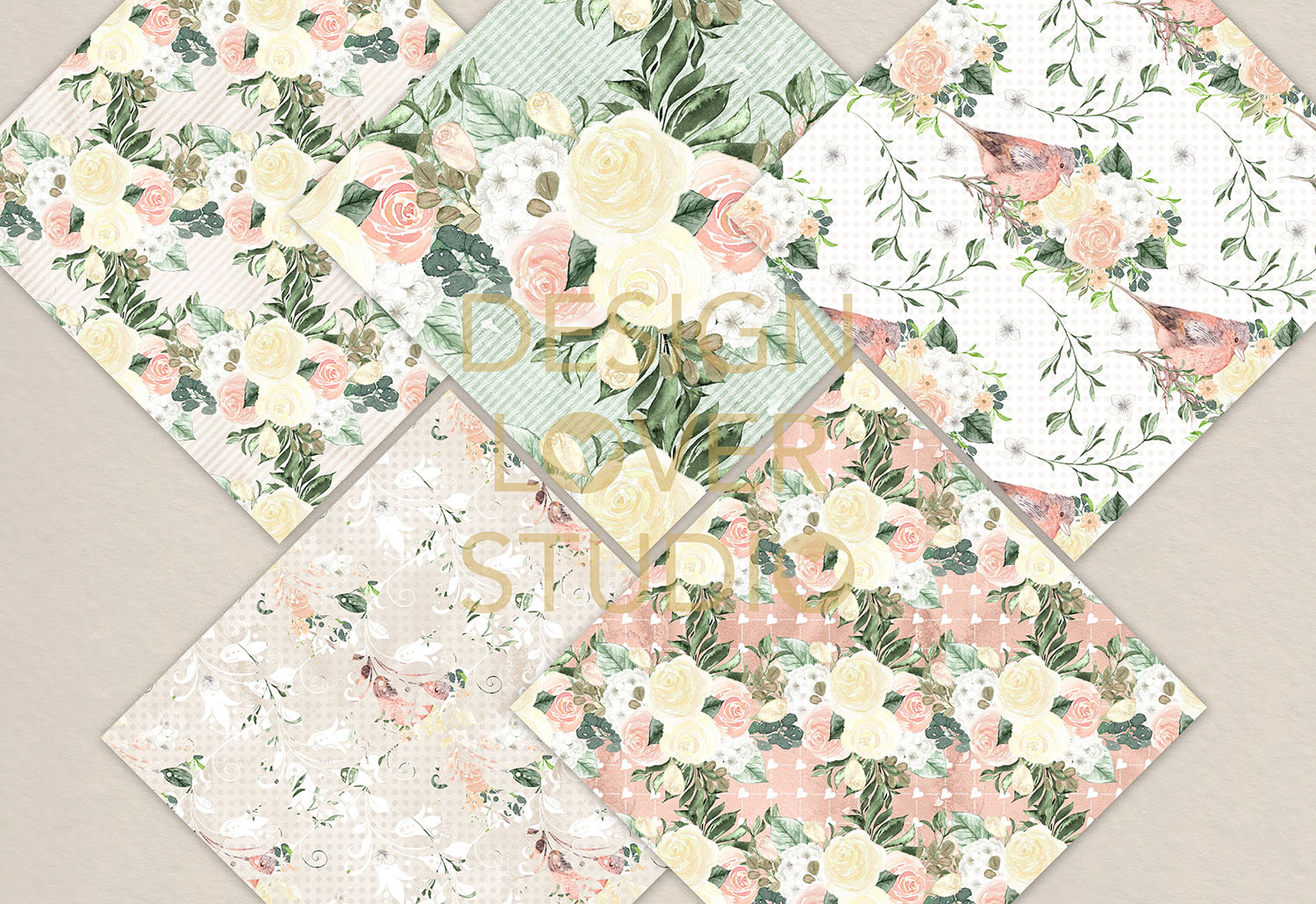 Watercolor roses white and green digital paper pack example image 2
