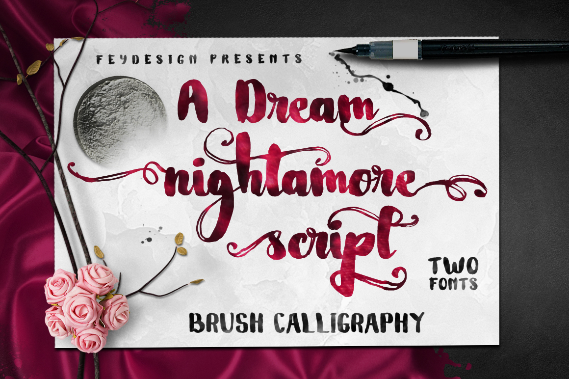 Nightamore Brush Calligraphy (Bonus Font) example image 1