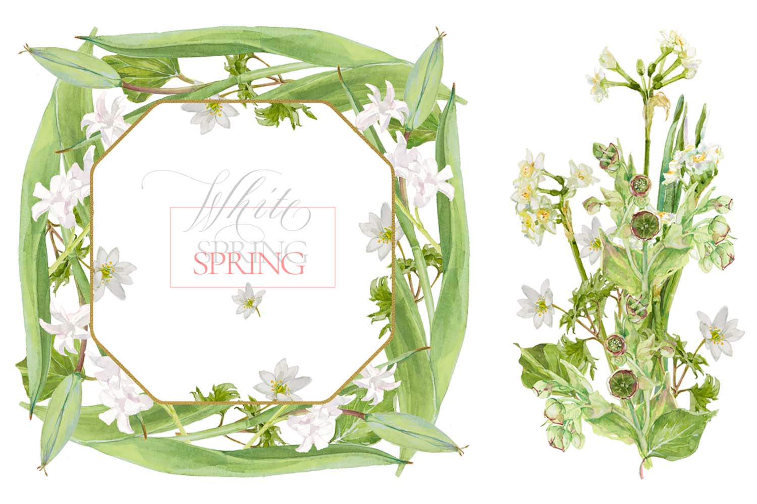 White Watercolor Bouquets & Wreaths example image 12