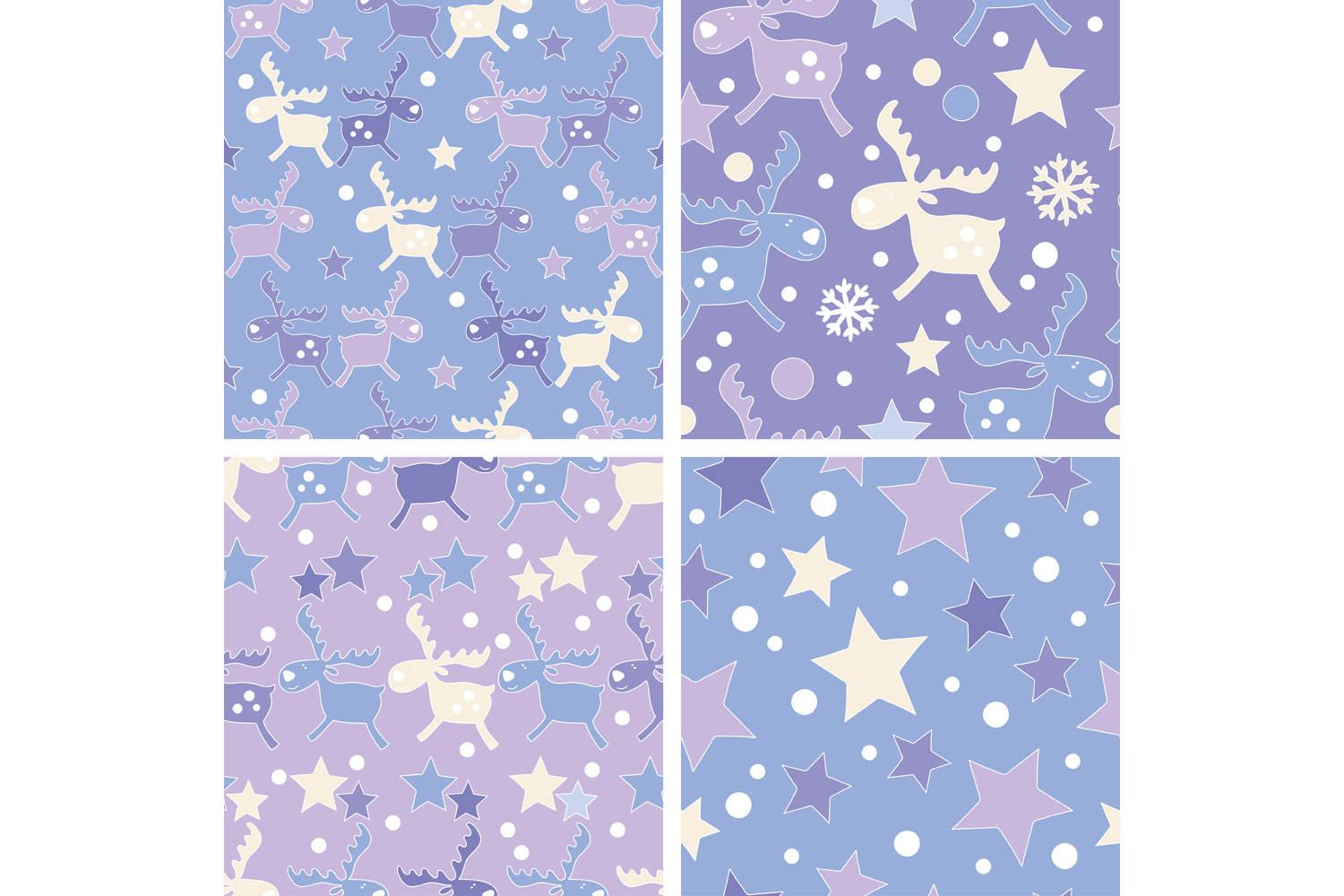 Set of 4 seamless Christmas backgrounds with doodle deers and stars.  example image 5