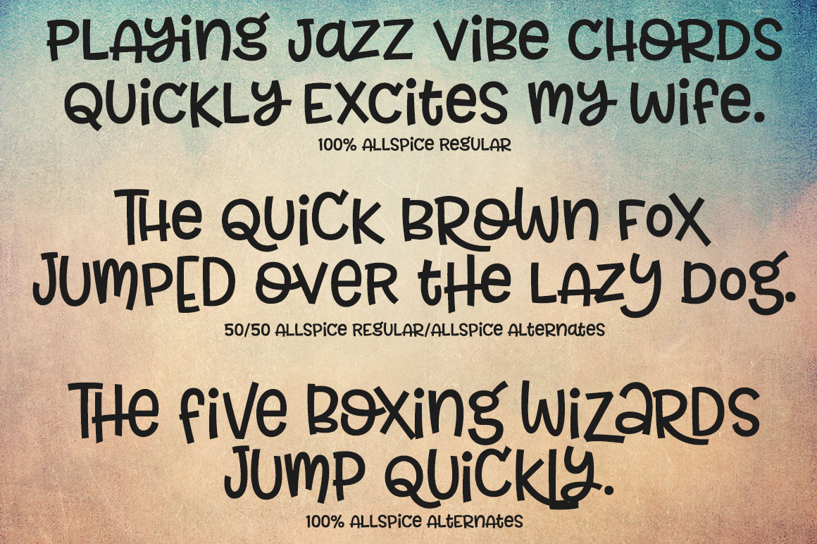 Allspice: sentences displaying mixing and matching alternates