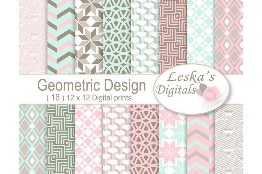 Geometric Digital Paper Patterns example image 1