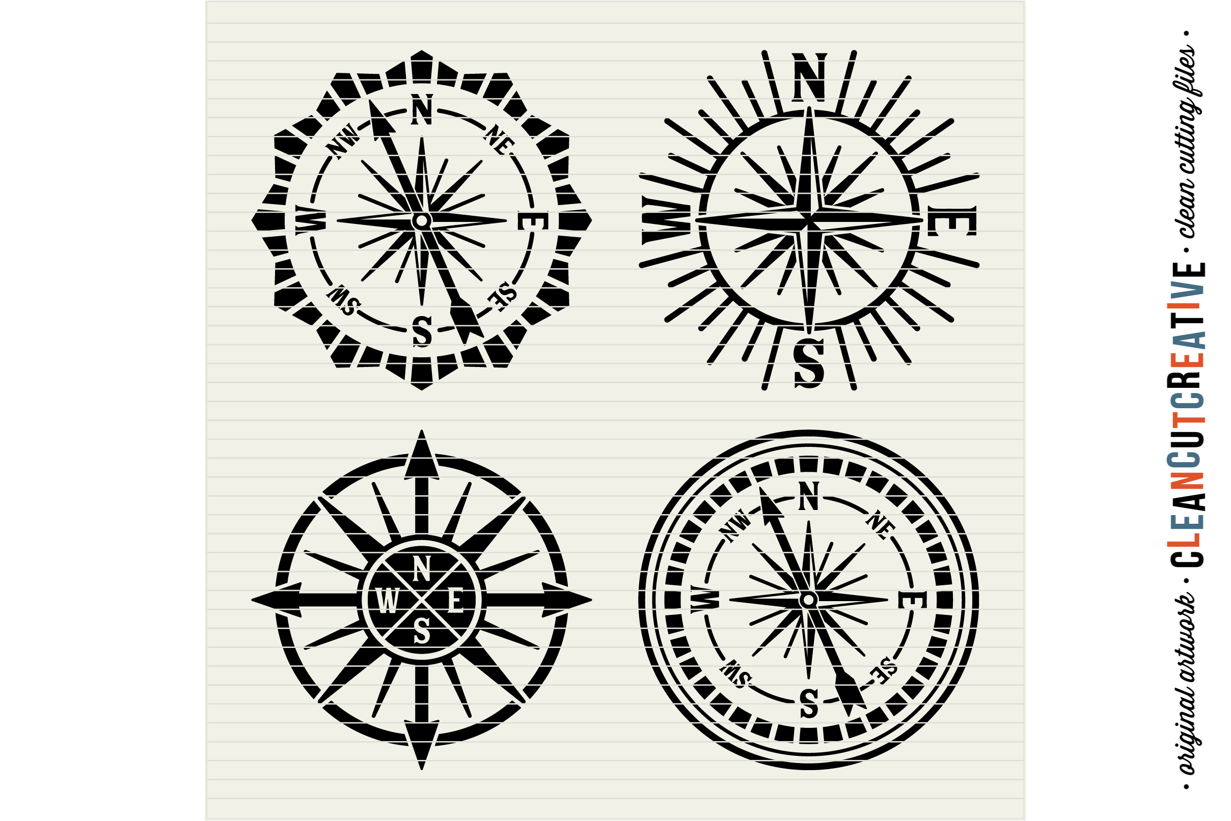 Set of 4 RETRO COMPASSES - SVG DXF EPS PNG - Cricut & Silhouette - clean cutting files example image 2