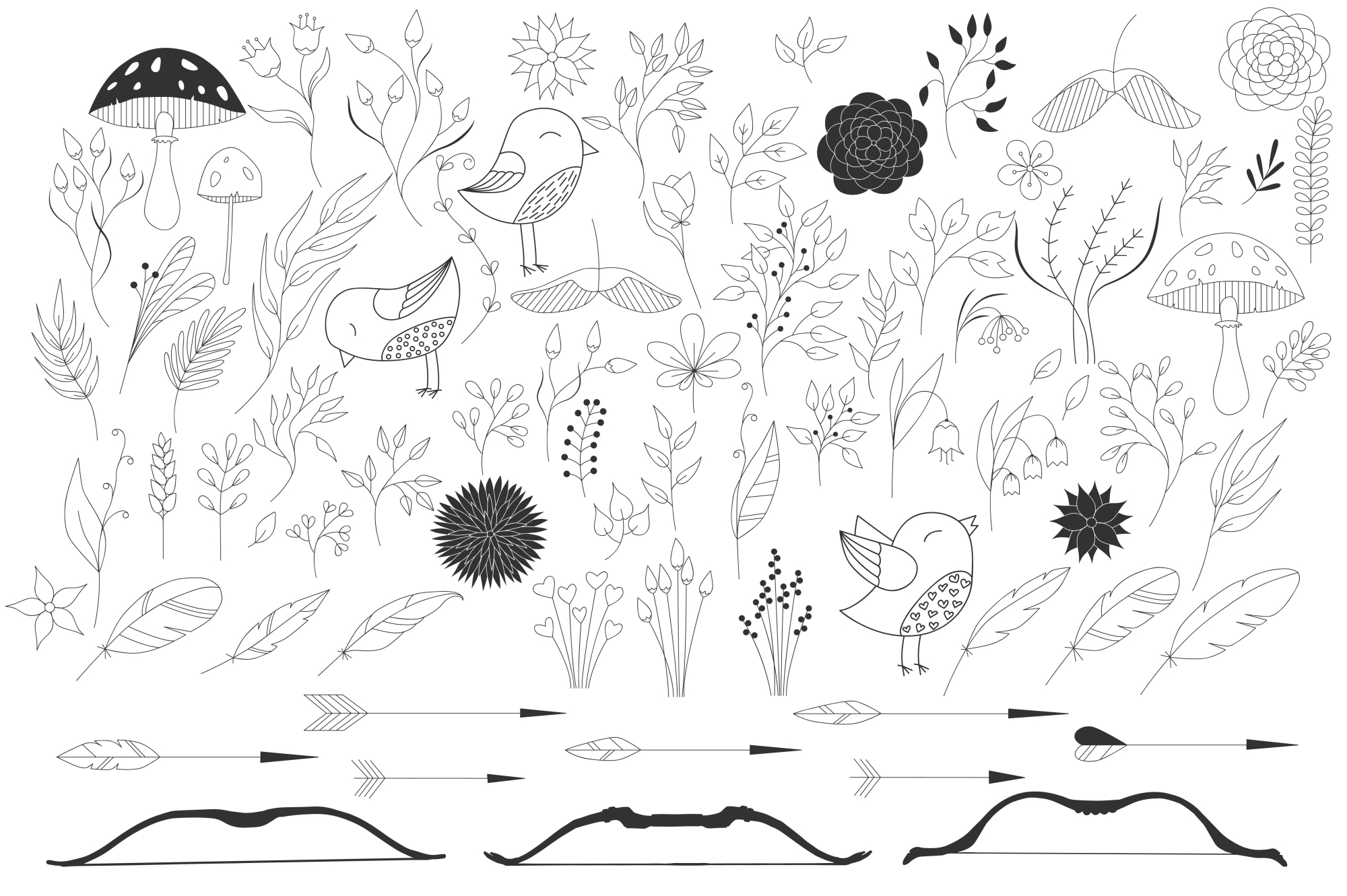 450 handsketched elements. Nature mega pack example image 9