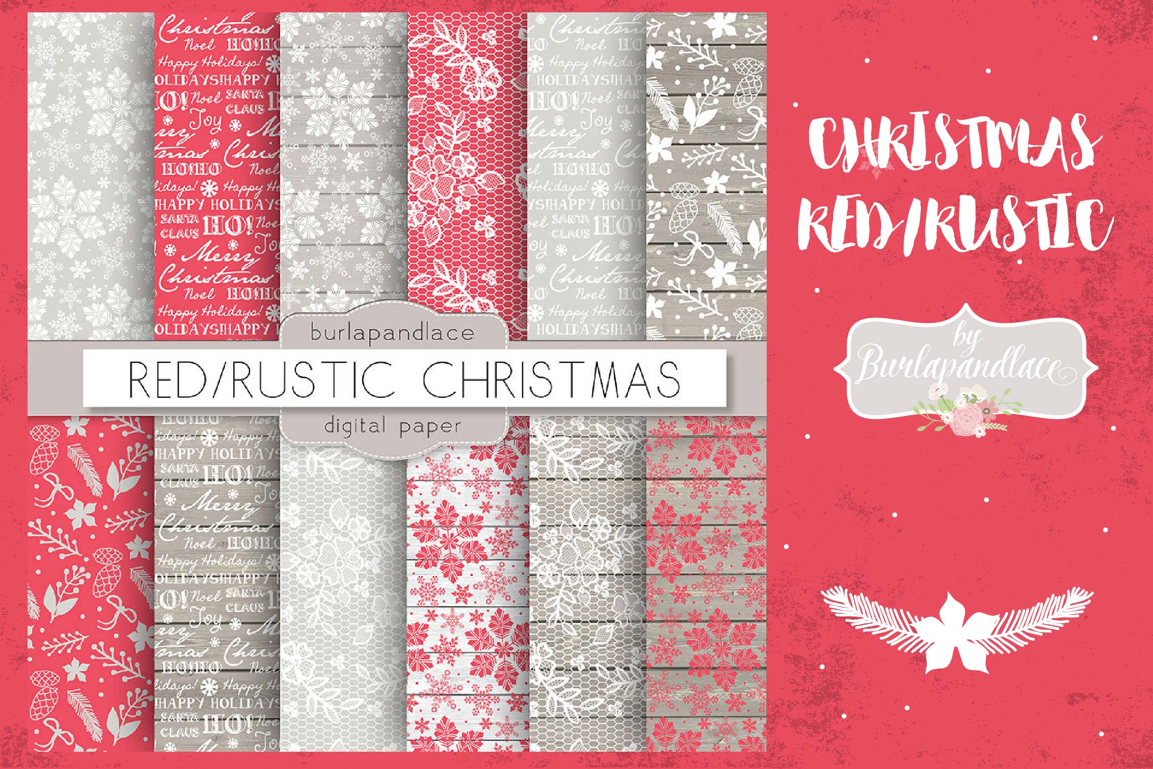 Red snowflakes christmas digital paper example image 1