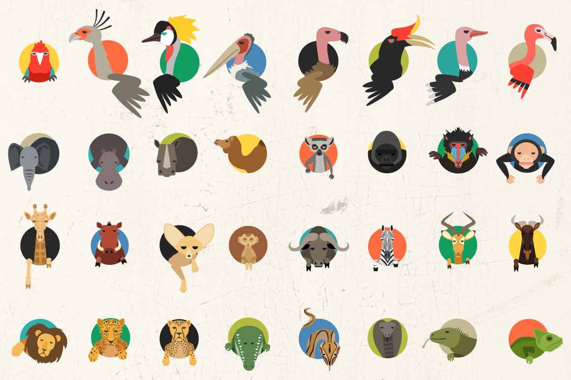 Vector African Animal 32 icons in 2 colors example image 7